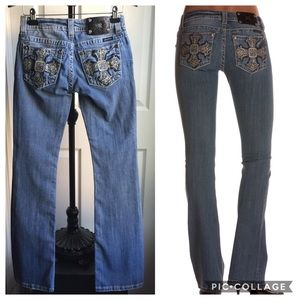 MISS ME BLUE CROSS OVER STITCHING BOOT CUT…
